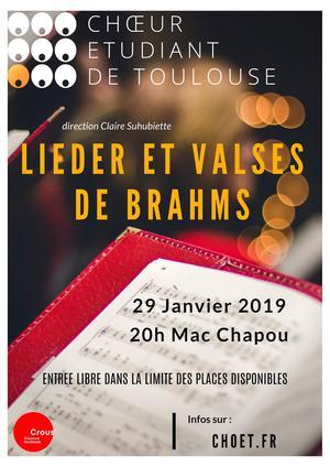Premier concert le 29 janvier : Valses et Lieder de Brahms