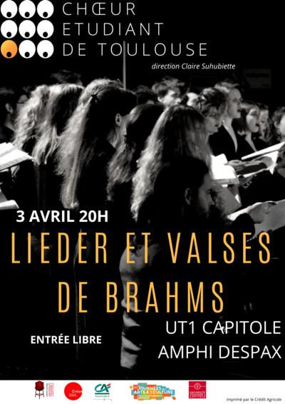 Concert le 3 avril : Valses et Lieder de Brahms à l'UT1 Capitole